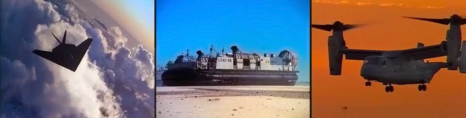 Airplanes, F-117, LCAC, V-22 Osprey